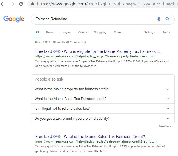 アメリカ版のグーグル検索