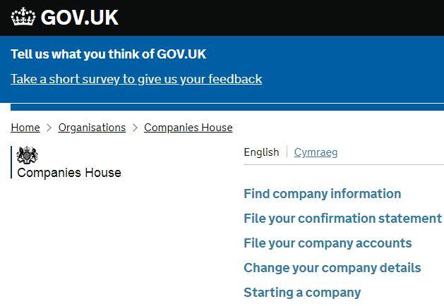 企業登記局(Companies House)のサイト