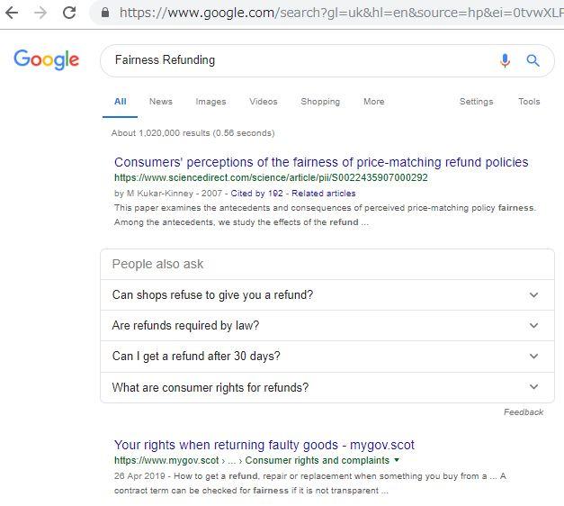 イギリス版のグーグル検索