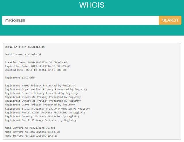 「mikscoin.ph」のドメイン情報